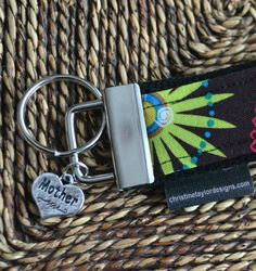 Key Fob with Mother charm  pink lime brown by ctaylordesigns, $12.00