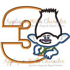 Troll Applique Design, Troll Embroidery Design, Branch Troll Applique Design, Boy Applique Design, Kids Embroidery, Girl Embroidery by www.appliqueswithcharacter.com