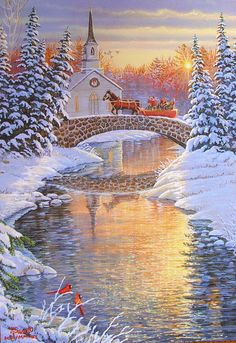 Leanin' Tree Sam Timm Church Horse Sleigh Bridge Sunrise Christmas Greeting Card