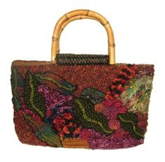 Freeform Crochet Handbag in Autumn Tones..by renate kirkpatrick