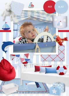 Maritimes Kinderzimmer in blau & rot