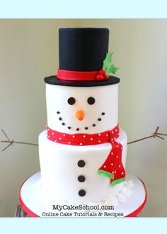 the cutest snowman cake a cake decorating video tutorial by httpmycakeschool - Easy Christmas Cakes