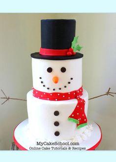 The Cutest Snowman Cake! A Cake Decorating Video Tutorial by http://MyCakeSchool.com.
