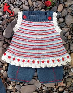 knitted baby top and shorts