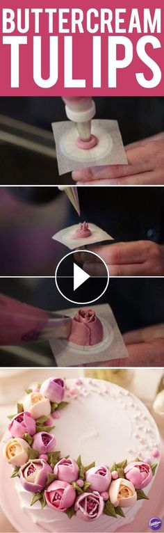 How to Make Buttercream Tulips - Learn how to make tulips in buttercream using Wilton decorating tips 12, 3, and 123. A buttercream flower is always in style and adds beauty to any cake or cupcake.