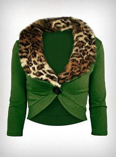 Pinup Fashion: cute cropped green sweater with leopard collar.