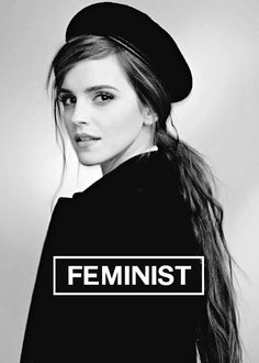 "HEforSHE :) ""I decided that I was a feminist. This seemed uncomplicated to me. But my recent research has shown me that feminism has become an unpopular word. Women are choosing not to identify as feminists. Apparently, [women's expression is] seen as too strong, too aggressive, anti-men, unattractive."""