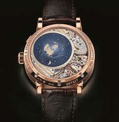 Lange & Sohne Perpetual Calendar Terra Luna offers an orbital moonphase display accurate to within a day for more than 1000 years. Fine Watches, Watches For Men, Luxury Watches, Rolex Watches, Mens Watch Box, Perpetual Calendar, Elegant Watches, Patek Philippe, Chronograph