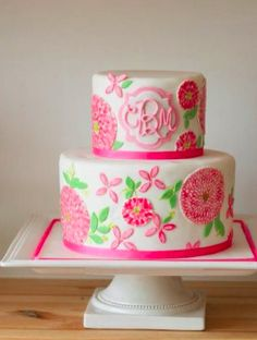 a monogrammed lilly pulitzer cake - @Katie Lewis I see this with your name on it come November...