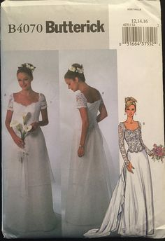 Wedding Dress with lace overlays detachable train sewing pattern Butterick 4070 Size Bust UNCUT FF by retroactivefuture on Etsy Vintage Style Wedding Dresses, Gorgeous Wedding Dress, Vintage Bridal, Designer Wedding Dresses, Vogue Wedding Dress Patterns, Evening Dress Patterns, Dress Making Patterns, Evening Dresses For Weddings, Bridal Dresses