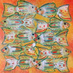 My Creative Endeavors: Tribal Fish 8x8 Canvas Panel #decoartprojects #decoartmedia #mixedmedia