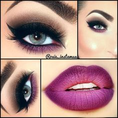 Neutral with some purple and purple ombre lips.