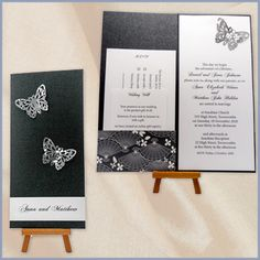 Handcrafted modern black and white Wedding Invitations with butterflies - Devereux Creative | Toowoomba | Cambooya