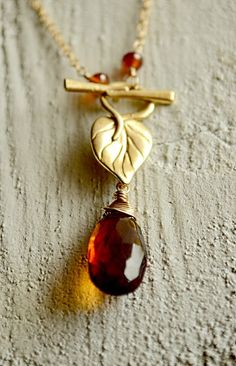 Cognac quartz leaf toggle necklace. By Kahili Creations of Hawaii...