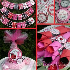 Lady Bug Birthday Party Decorations Package  by LePoppyDesign, $184.50