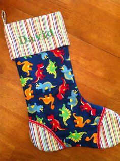 Custom Dinosaur Christmas stocking by kandybarnett on Etsy