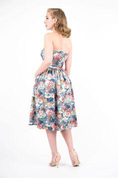 7fc408d62f81 Maisy - Bandeau Dress. Maisy - strapless midi dress from zoevine.com.  Japanese garden print. Zoe Vine · Summer Vintage Style