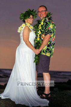 """A Line V Back Beaded Lace Chiffon Wedding Dress with Small Train"" ---- Princessly.com Customer Photos"
