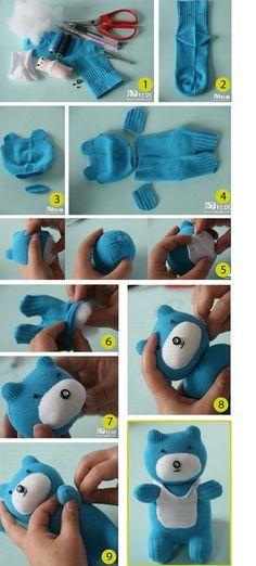 Tutorial DIY: Como hacer un osito de peluche con un calcetín