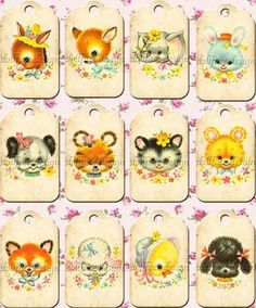 Kawaii Vintage Baby Animals Gift Tags - Printable Digital Download.  Could incorporate these into the baby shower theme.