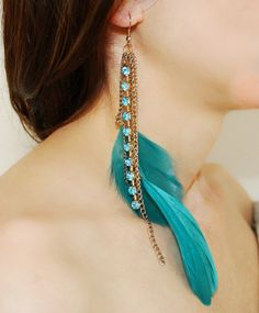 Turquoise Color Feather Earrings With Sparkling Crystals Ornaments-abby Feather Jewelry, Feather Earrings, Beaded Earrings, Earrings Handmade, Turquoise Eyeshadow, Western Earrings, Traditional Earrings, Feather Crafts, Beautiful Earrings
