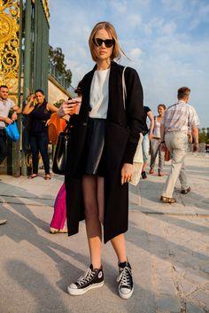short skirt, long jacket. #b+w #ss2014