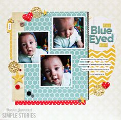 Our Blue-Eyed Boy {Simple Stories} - Scrapbook.com {love the hexagon background...#Cricut Artbooking cartridge has that overlay}