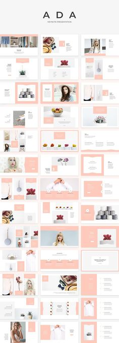 Ada Keynote Presentation by SlideStation on @creativemarket #fashion #templates #presentation #layout #inspiration #livingcoral #feminine