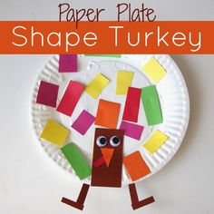 Paper Plate Shape Turkey Craft - Toddler Approved