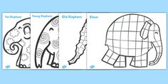 Patterns Colouring Sheets to Support Teaching on Elmer Elephant Crafts, Elephant Art, Classroom Displays, Classroom Themes, Book Activities, Preschool Activities, Coloring Sheets, Coloring Pages, Elephant Template