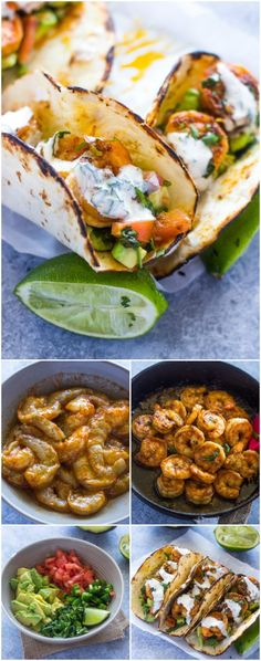 Spicy shrimp tacos with avocado salsa and sour cream cilantro sauce. These tasty tacos are ready in under 15 minutes Spicy shrimp tacos with avocado salsa and sour cream cilantro sauce. These tasty tacos are ready in under 15 minutes Fish Recipes, Seafood Recipes, Mexican Food Recipes, Great Recipes, Cooking Recipes, Favorite Recipes, Healthy Recipes, Spinach Recipes, I Love Food
