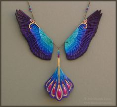 Radiance Falcon Wings Necklace - Leather Rainbow Bird Wing and Tail Feathers Necklace with Crystals Leather Jewelry, Leather Craft, Jewelry Accessories, Jewelry Design, Leather Carving, Wing Necklace, Feather Necklaces, Leather Projects, Beads And Wire