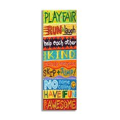 Stupell Industries The Kids Room Play Fair, Run and Laugh Colorful Typography Wall Plaque