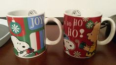 Two Peanuts Coffee Mugs Snoopy and Charlie Brown Christmas #Gibson