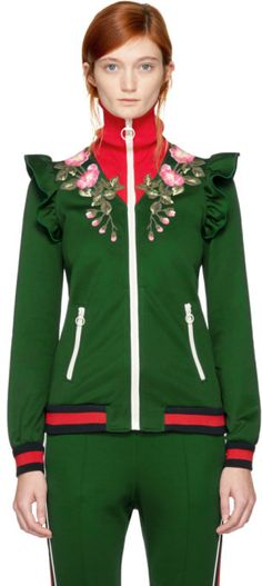 b1b6c153acb0 Gucci Green Embroidered Floral Track Jacket  ad Floral Jacket