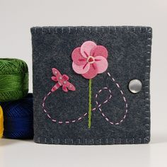 Dragonfly and Pink Flower Wool Felt Needle Book by TheBlueDaisy, via Flickr