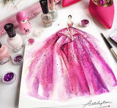 Zuhair Murad Nail Polish on paper Arte Fashion, Paper Fashion, Fashion Design Drawings, Fashion Sketches, Fashion Illustration Dresses, Fashion Illustrations, Illustration Mode, Dress Sketches, Dress Drawing