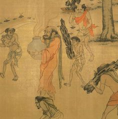 Yan Liben . Portraits of Periodical Offering of Tang, depicting foreign envoys with tribute bearers. Song Dynasty copy (деталь)