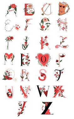 Valentine's day inspired dropcaps & illustrations