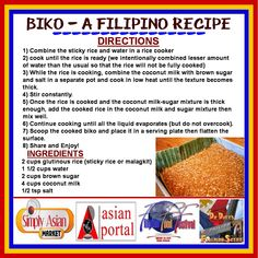 BIKO - A FILIPINO RECIPE. Biko is my all-time favorite Filipino dessert or merienda (snack) item. Try this simple yet delicious Biko recipe. for more on filipino Foods and Recipes visit us on Facebook at the following link: https://www.facebook.com/groups/678372948894511/ Ang sarap (Yummy!).