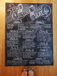 Vintage Wedding Chalkboard Seating Chart