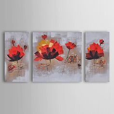 Oil Painting Modern Floral Dancing Red Lillies Set of 3 Hand Painted Canvas with…