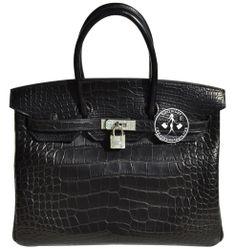 Hermès Matte Black Alligator Birkin Handbag with Diamonds Hermes Purse, Hermes Handbags, Handbags On Sale, Hermes Birkin, Color Of The Week, Purses, Shoe Bag, My Style, Matte Black