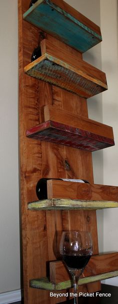Reclaimed wood wine rack at Beyond The Picket Fence