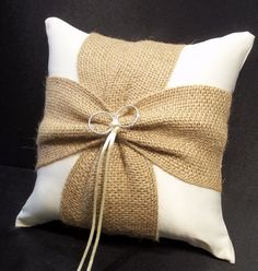 Use coupon code PINITFREESHIP for FREE shipping! Burlap Accent Ivory or White Wedding Ring Bearer Pillow by Jessicasdaydream