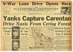 Battle of CARENTAN D Day Battle For Normandy JUNE 12 1944 NEWSPAPER B10