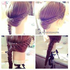Instagram photo by @braidsbysophia (Sophia Shedd)   Iconosquare  Four strand lace braid into a fishtail