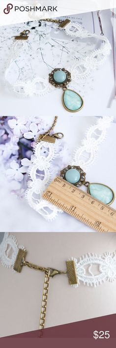 Cameo Vintage Chocker! Vintage necklace! Lovely handmade! Lace and mint vintage decor! haveitwearitloveit® Jewelry Necklaces