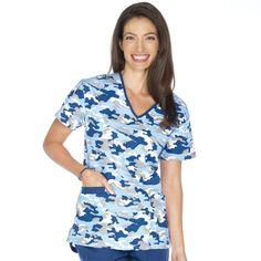 - Contrast V-Neck 2 Pocket Top Camo Scrubs, Scrubs Uniform, Medical Assistant, Nursing Clothes, Work Attire, V Neck Tops, Print Patterns, Wrap Dress, Casual