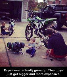I have a picture just like that of my son and his Dad washing their bikes.  He was maybe 2 1/2 at the time.